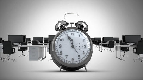Clock ticking in office Animation