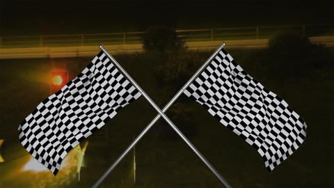 Crossed racing flags hanging from a pole Animation