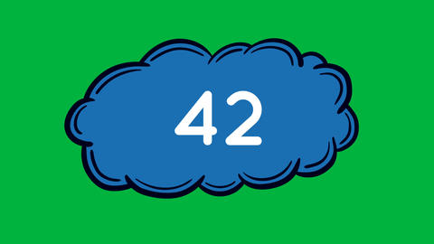 Blue cloud with numbers 4k Animation