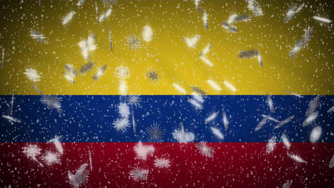 Colombia flag falling snow loopable, New Year and Christmas background, loop Animation