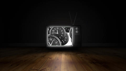 Television screen with clocks Animation