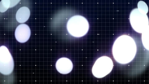 Balls of light against dark grid pattern Animation