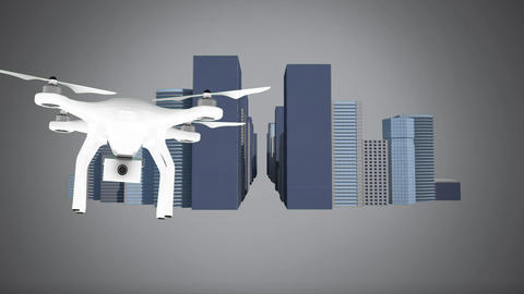 Drone moving through city streets Animation