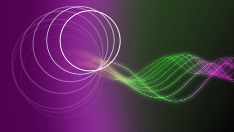 Two different part. On the left purple circle, on the right green waves Animation