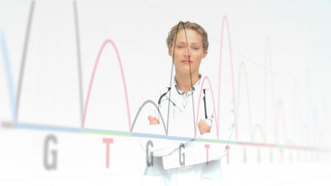 Data charts on a with screen with a female doctor smiling on the foreground Animation