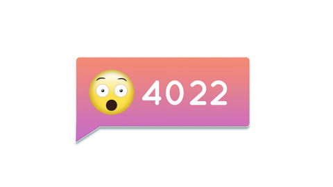 Surprised face emoticon with numbers 4k Animation