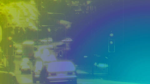 car traffic in accelerated on street with retro filter Animation