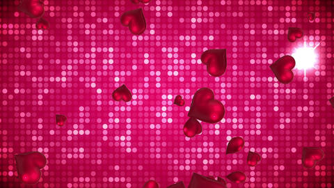 Floating hearts with a sequenced background Animation