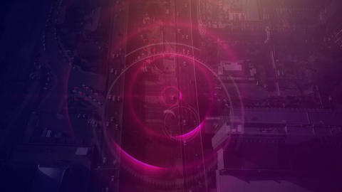 Sky view of city with huge communication way with dark purple filter Animation
