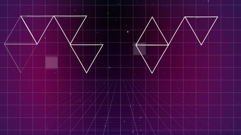 Lots of triangle forming others forms on purple grid background Animation