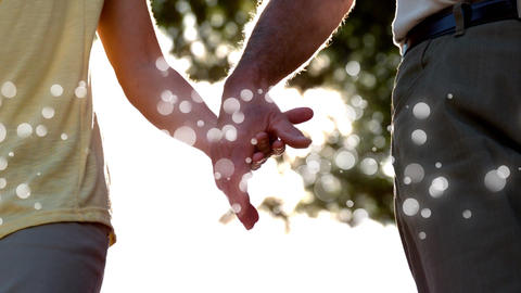 of man and woman holding hands on sunny day Animation
