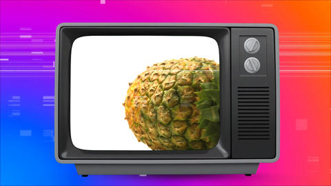 Retro TV showing pineapple on screen. There is vintage background with virtual square sizzling Animation