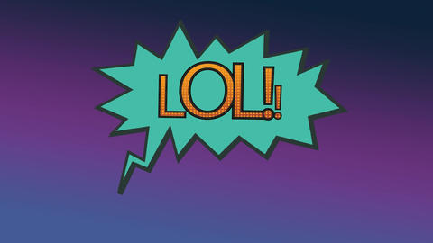 Word LOL in exclamation bubble on purple background Animation