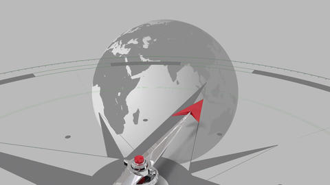 Compass against spinning globe Animation