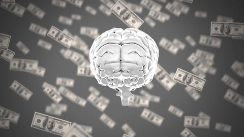 Human brain with dollar bills in the background Animation