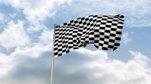 Checkered flag waving in cloudy sky Animation