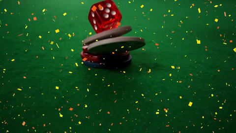 Token and dice falling on poker table with confetti animation Animation