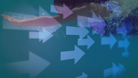 Slow motion of a woman swimming underwater in a blue pool Animation