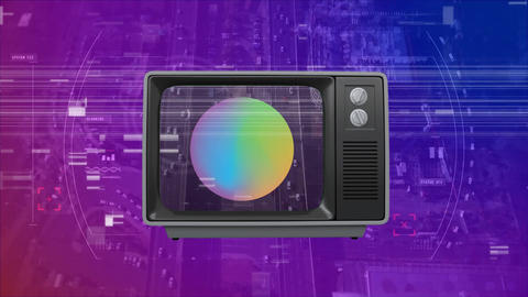 Front view of an old sizzling TV against aerial view in background Animation