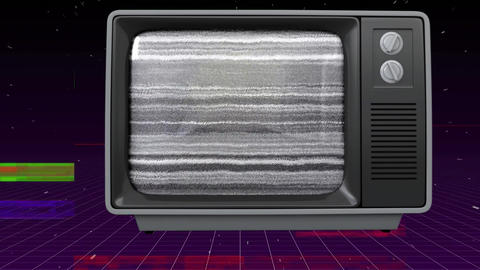 Old TV post showing an orange disk against a space background with TV crackling animation on the for Animation