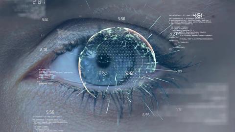 Caucasian woman eye winking with virtual ball Animation