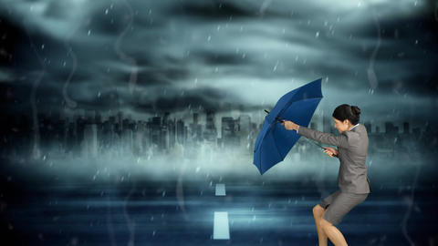Businesswoman braving the storm Animation