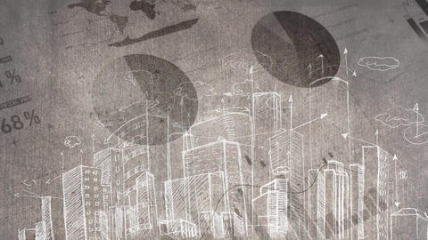 Drawing animation of a city against data analysis and graphs Animation