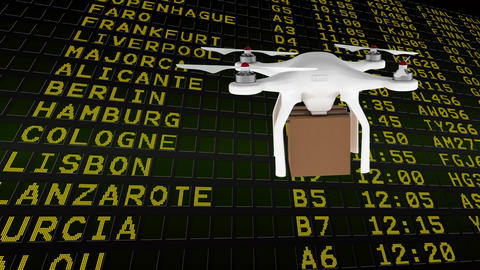 Front view of a drone holding a package box while he is flying Animation