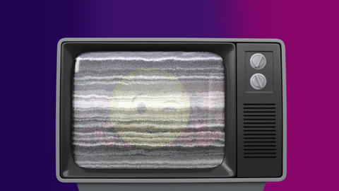 Old TV post showing a yellow rascal emoji surrounded by TV sizzling Animation