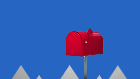 Animation of letterbox against arrows poiting up Animation