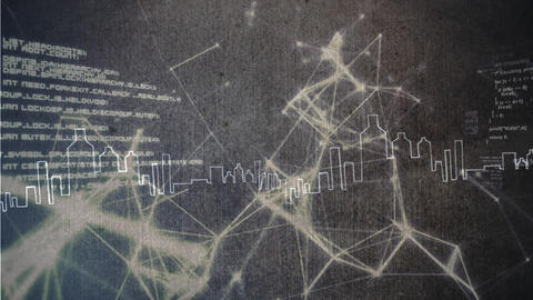 Light connections with data on a grey background with a city shape on the foreground Animation