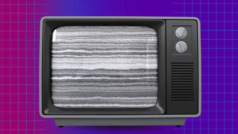 Retro TV showing purple screen on vintage background Animation
