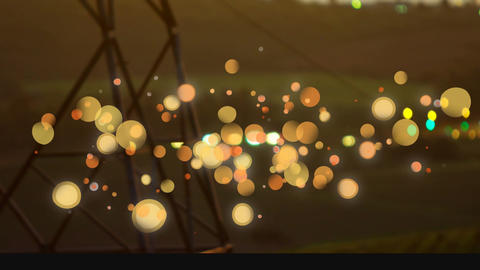 car light on night with telephone antenna on foreground. Animation of bubble light Animation