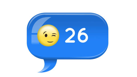 Smiling face emoji with number count increasing 4k Animation