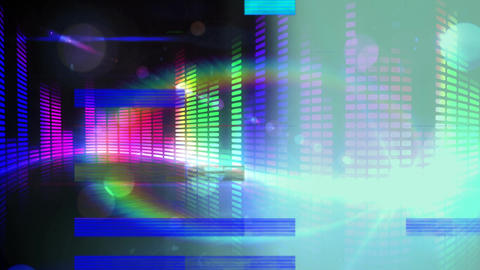 Animation of colorful sound bar on black background Animation