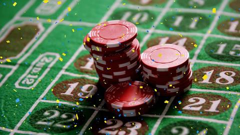Token falling on casino table Animation