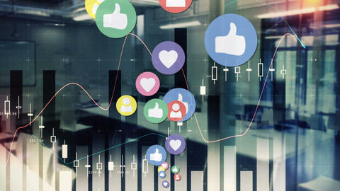 Graphs and stats for social media popularity 4k Animation