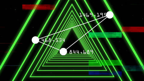 Connected point forming triangle with number on angle. Turning on green triangle corridor Animation