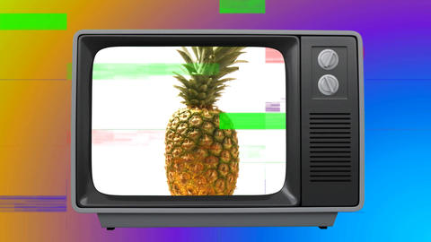 Old TV with pineapple on the screen against colorful background Animation