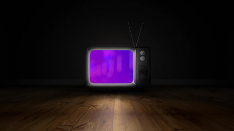 Old TV with cityscape surrounded by scrambled effect on the pink screen Animation