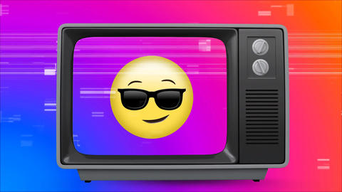 Old TV post showing a yellow emoji with glasses against a multi color background with TV sizzling Animation