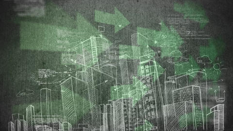Draw of a city against big green arrows and binary codes in background Animation
