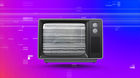 vintage television with virtual sizzle background Animation