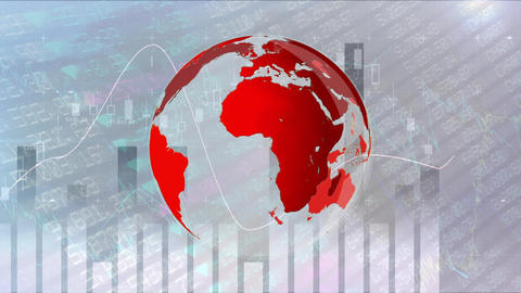 Digital red turning globe against graph analysis in background Animation