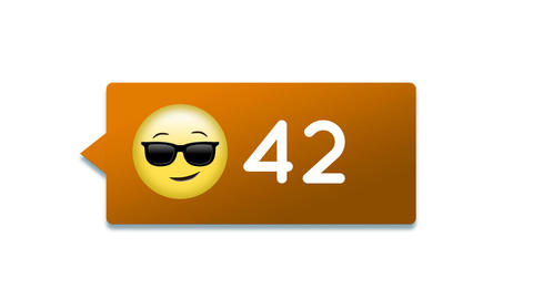 Smiling face emoji with number count increase 4k Animation