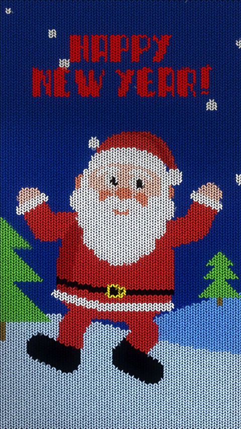 vertical knitted christmas animation. joyful bouncing santa GIF