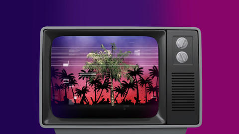 Retro TV showing palms trees sizzling Animation