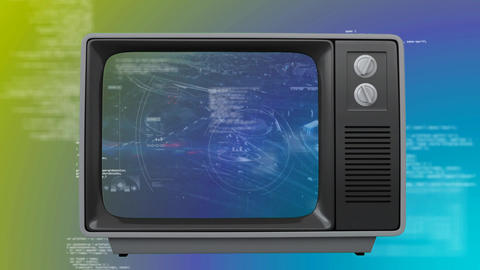Old TV with cityscape on the screen against becolorful background Animation