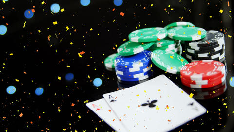 Digital composite of tokens and cards falling on the floor with confetti and bubble animation Animation