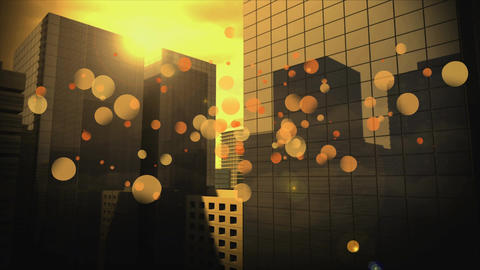 Cityscape surrounded by yellow bubbles effect Animation